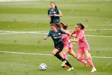 Stock Picture of Sheila Garcia of Rayo Vallecano and Kosovare Asllani of Real Madrid in action during the spanish women league, La Liga Iberdrola, football match played between Real Madrid Femenino and Rayo Vallecano Femenino at Ciudad Deportiva Real Madrid on October 18, 2020 in Valdebebas, Spain.