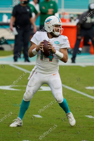 Miami Dolphins quarterback Ryan Fitzpatrick (14) looks to pass during the first half of an NFL football game against the New York Jets, in Miami Gardens, Fla