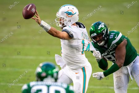 Stock Image of Miami Dolphins quarterback Ryan Fitzpatrick (14) passes the ball avoiding the sack by New York Jets defensive lineman John Franklin-Myers (91) during an NFL football game, in Miami Gardens, Fla