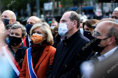 Region President, Valerie Pecresse and French Prime Minister, Jean Castex seen during the tribute. Thousands gathered at the Place de la Republique to protest and pay tribute to 47-year-old history teacher Samuel Paty, beheaded on October 16th after showing caricatures of the Prophet Muhammad in class.
