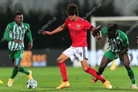 Rio Ave's Pele (R) in action against Benfica's Darwin Nunez (C) during the Portuguese First League soccer match between FC Rio Ave and Benfica Lisbon in Vila do Conde, Portugal, 18 October 2020.