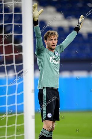 Stock Photo of Schalke's goalkeeper Frederik Ronnow reacts during the German Bundesliga soccer match between FC Schalke 04 and FC Union Berlin in Gelsenkirchen, Germany, 18 October 2020.