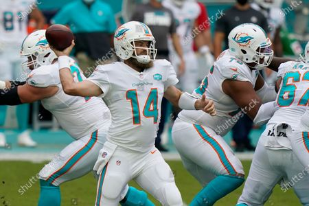 Stock Picture of Miami Dolphins quarterback Ryan Fitzpatrick (14) looks to pass the ball during the first half of an NFL football game against the New York Jets, in Miami Gardens, Fla
