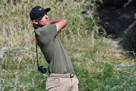 Russell Henley makes his tee shot on the second hole during the final round of the CJ Cup golf tournament at Shadow Creek Golf Course, in North Las Vegas