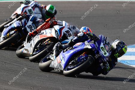 CIRCUITO ESTORIL, PORTUGAL - OCTOBER 18: Federico Caricasulo, GRT Yamaha, Tom Sykes, BMW Motorrad WorldSBK Team during the Estoril at Circuito Estoril on October 18, 2020 in Circuito Estoril, Portugal. (Photo by Gold and Goose / LAT Images)