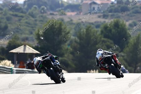 CIRCUITO ESTORIL, PORTUGAL - OCTOBER 18: Eugene Laverty, BMW Motorrad WorldSBK Team, Tom Sykes, BMW Motorrad WorldSBK Team during the Estoril at Circuito Estoril on October 18, 2020 in Circuito Estoril, Portugal. (Photo by Gold and Goose / LAT Images)
