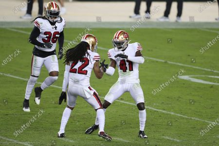 San Francisco 49ers cornerback Jason Verrett (22) celebrates with cornerback Emmanuel Moseley (41) and safety Marcell Harris (36) during an NFL football game against the Los Angeles Rams in Santa Clara, Calif
