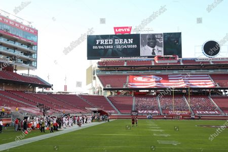 Former San Francisco 49ers player Fred Dean, who died Oct. 14, 2020, is honored at Levi's Stadium before an NFL football game between the 49ers and the Los Angeles Rams in Santa Clara, Calif