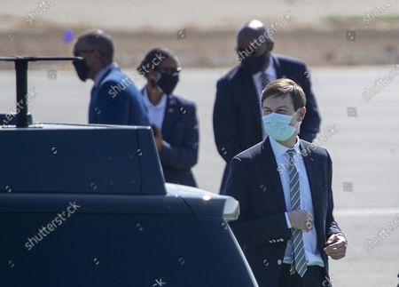 Jared Kushner, right, Senior Advisor to President Donald Trump, arrives on Air Force One at John Wayne Airport on Sunday, Oct. 18, 2020 in Santa Ana, CA where he and President Donald Trump will be attending a fundraiser at the home of Palmer Luckey in Newport Beach. (Allen J. Schaben / Los Angeles Times)