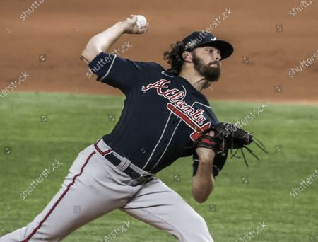 Stock Image of Atlanta Braves starting pitcher Ian Anderson throws in the first inning of the MLB National League Championship Series baseball game seven between the Los Angeles Dodgers and the Atlanta Braves at Globe Life Field in Arlington, Texas, USA, 18 October 2020.