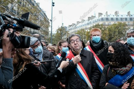 Jean-Luc Melenchon, the leader of La France Insoumise, Adrien Quatennens, Eric Coquerel, Manon Aubry, and Leila Chaibi were present at the Place de la Republique tribute.