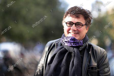 Patrick Pelloux poses during  tribute to the teacher, Samuel Paty beheaded in Conflans-Sainte-Honorine near Paris , Place de la République