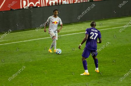 Kyle Duncan (6) of Red Bulls controls ball during regular MLS game against Orlando City SC at Red Bull Arena. Game ended in draw 1 - 1. Game was played without fans because of COVID-19 pandemic precaution. All supporting staff and players on the bench were wearing facial masks and kept social distances.