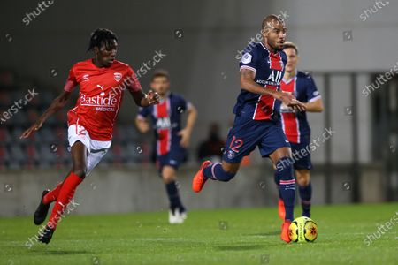 Stock Image of Paris Saint-Germain's Rafinha during the French L1 football match between Nimes (NO) and Paris Saint Germain (PSG) at the Costieres Stadium in Nimes, southern France, on October 16, 2020.