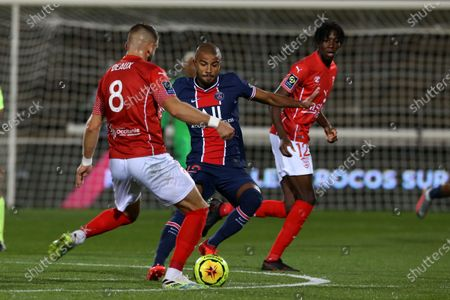 Paris Saint-Germain's Rafinha (c) during the French L1 football match between Nimes (NO) and Paris Saint Germain (PSG) at the Costieres Stadium in Nimes, southern France, on October 16, 2020.