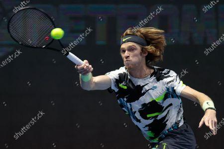 Andrey Rublev during International tennis tournament ATP St.Petersburg Open at Sibur Arena in Saint Petersburg