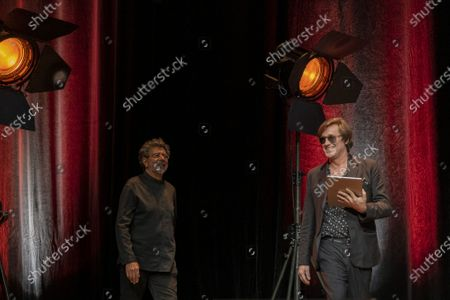 Gabriel Yared and Thomas Dutronc attend the tribute to the brothers Jean-Pierre and Luc Dardenne at the 12th Film Festival Lumiere in Lyon.