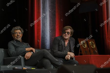 Gabriel Yared and Thomas Dutronc attend the tribute to the brothers Jean-Pierre and Luc Dardenne at the 12th Film Festival Lumiere in Lyon