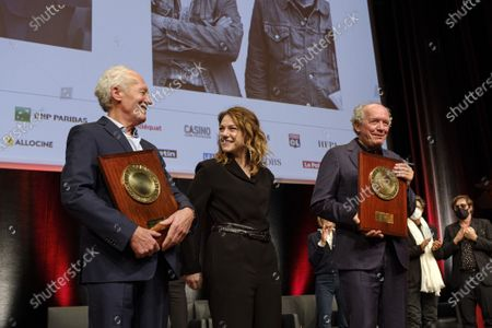 Stock Picture of Luc Dardenne, Emilie Dequenne and Jean-Pierre Dardenne attend the tribute to the brothers Jean-Pierre and Luc Dardenne at the 12th Film Festival Lumiere in Lyon..