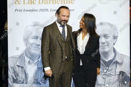 Vincent Perez and Karine Silla attend the tribute to the brothers Jean-Pierre and Luc Dardenne at the 12th Film Festival Lumiere in Lyon.