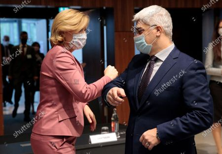 German Minister of Food, Agriculture and Consumer Protection Julia Kloeckner (L) Hungary's Minister of Agriculture Istvan Nagy (R) prior to an EU Agriculture and Fisheries council ministers meeting in Luxembourg, 19 October 2020.