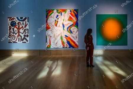A. R. Penck, Standart TTABTTT 5, 1984, £110,000 - 160,000, and Salomé (Wolfgang Ludwig Cihlarz), Zeittunnel, 1981, £ 9,000 - 12,000 with Peter Schuyff, Untitled, 1987, est £ 6,000 - 8,000 - Preview of Bonhams' Post-War & Contemporary Art sale,in new Bond Street.