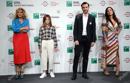 Valeria Golino, Cristina Magnotti, director Nicolangelo Gelormini and actress Pina Turco pose during the photocall for the movie 'Fortuna' at the 15th annual Rome Film Festival, in Rome, Italy, 19 October 2020. The film festival runs from 15 to 25 October.