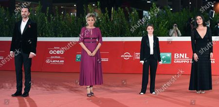 Italian film director Nicolangelo Gelormini, and Italian actresses/cast members Valeria Golino, Cristina Magnotti and Pina Turco arrive for the screening of 'Fortuna' at the 15th annual Rome International Film Festival, in Rome, Italy, 19 October 2020. The film festival runs from 15 to 25 October.