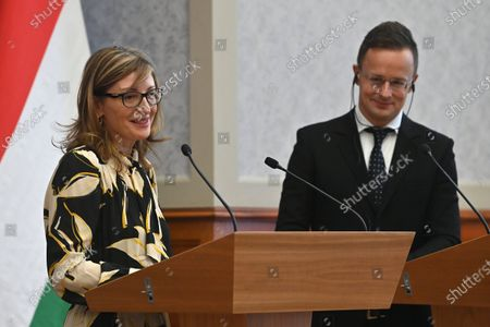 Hungarian Minister of Foreign Affairs and Trade Peter Szijjarto (R) and Bulgarian Deputy Prime Minister and Minister of Foreign Affairs Ekaterina Zaharieva (L) hold a joint press conference after their meeting in Budapest, Hungary, 19 October 2020.