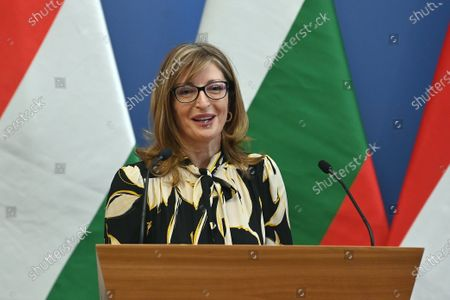Bulgarian Deputy Prime Minister and Minister of Foreign Affairs Ekaterina Zaharieva speaks during a joint press conference with Hungarian Minister of Foreign Affairs and Trade Peter Szijjarto (not seen) after their meeting in Budapest, Hungary, 19 October 2020.