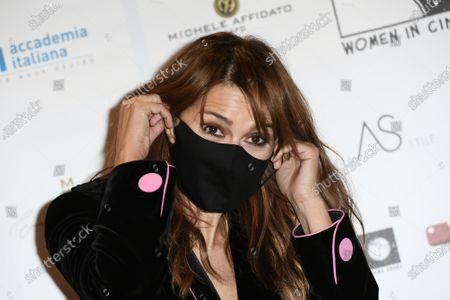 Actress Paola Cortellesi with face mask