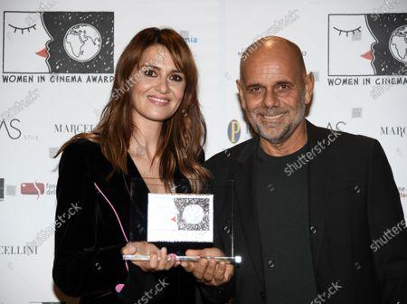 Stock Image of Actress Paola Cortellesi, director Riccardo Milani