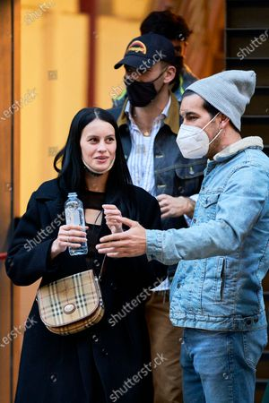 """Milena Smit and Mario Casas are seen coming out of Proyecciones Cinema after the screening of the movie """"No Mataras"""" (Cross the Line)"""