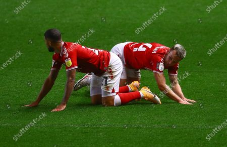 Stock Picture of Nahki Wells and Andreas Weimann of Bristol City on their knees after a collision