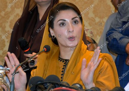 Maryam Nawaz, daughter of former Pakistani prime minister Nawaz Sharif and leader of an opposition party, gives press conference regarding the arrest of her husband, Mohammad Safdar, in Karachi, Pakistan, . Pakistani police briefly detained Safdar, on Monday, accusing him of leading a crowd in a chant against the military at the tomb of the country's founder