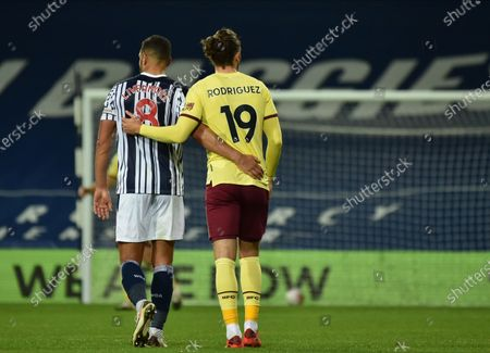 Jake Livermore (L) of West Bromwich and Jay Rodriguez (R) of Burnley walk together after the English Premier League soccer match between West Bromwich Albion and Burnley FC in West Bromwich, Britain, 19 October 2020.