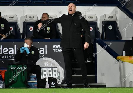 Burnley's manager Sean Dyche reacts during the during the English Premier League soccer match between West Bromwich Albion and Burnley at the Hawthorns in West Bromwich, England