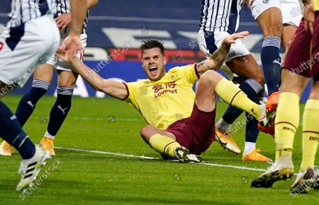Stock Picture of Burnley's Johann Berg Gudmundsson appeals to the referee for a penalty during the English Premier League soccer match between West Bromwich Albion and Burnley at the Hawthorns in West Bromwich, England