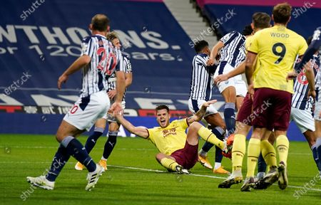 Stock Image of Burnley's Johann Berg Gudmundsson appeals to the referee for a penalty during the English Premier League soccer match between West Bromwich Albion and Burnley at the Hawthorns in West Bromwich, England