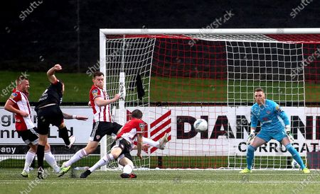 Derry City vs Dundalk. Dundalk's Sean Murray scores his sides opening goal