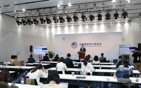 A delegate from Dun & Bradstreet (D& B) Company introduces the company's plan for attending the 3rd China International Import Expo (CIIE) during the publicity conference of the Trade In Services exhibition area at the National Exhibition and Convention Center (Shanghai) in Shanghai, east China, Oct. 19, 2020. The 3rd CIIE will be held from Nov. 5 to 10 in Shanghai this year.