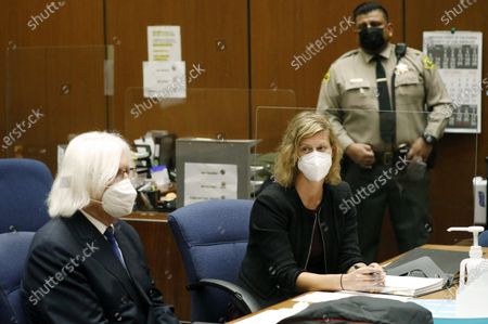 "Thomas Mesereau, left, and Sharon Appelbaum, attorneys for actor Danny Masterson, appear at a hearing, at the Clara Shortridge Foltz Criminal Justice Center in Los Angeles. ""That '70s show"" cast member Masterson has been accused of multiple rape charges"