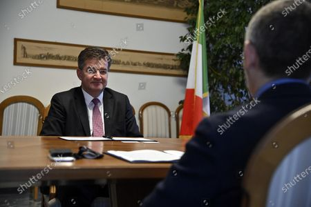 Miroslav Lajcak (L), the EU Special Representative for the Belgrade-Pristina Dialogue and other Western Balkan regional issues, meets with Ivan Scalfarotto (R, back to camera), Member of the Italian Chamber of Deputies, for talks at the Ministry of Foreign Affairs in Rome, Italy, 19 October 2020.