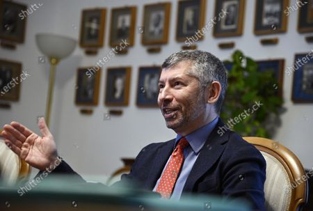 Ivan Scalfarotto, Member of the Italian Chamber of Deputies, attends a meeting with Miroslav Lajcak (unseen), the EU Special Representative for the Belgrade-Pristina Dialogue and other Western Balkan regional issues, at the Ministry of Foreign Affairs in Rome, Italy, 19 October 2020.