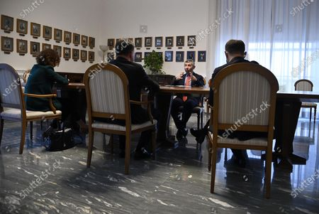 Ivan Scalfarotto (C), Member of the Italian Chamber of Deputies, attends a meeting with Miroslav Lajcak (unseen), the EU Special Representative for the Belgrade-Pristina Dialogue and other Western Balkan regional issues, at the Ministry of Foreign Affairs in Rome, Italy, 19 October 2020.