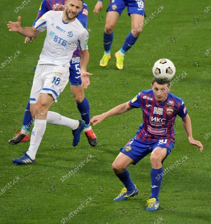 Stock Picture of Russian Football Championship 2020/2021. 11th round. CSKA (Moscow) vs Dynamo (Moscow) at the VEB Arena stadium. CSKA player Alan Dzagoev (right) during the match.