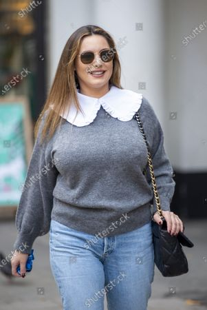 Kelly Brook arrives at the Global Radio studios for her Heart Radio show