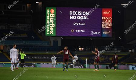 Stock Picture of A VAR decision is on display after Romain Saiss of Wolverhampton's goal was disallowed during the English Premier League match between Leeds United and Wolverhampton Wanderers in Leeds, Britain, 19 October 2020.