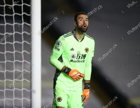 Rui Patricio of Wolverhampton reacts during the English Premier League match between Leeds United and Wolverhampton Wanderers in Leeds, Britain, 19 October 2020.