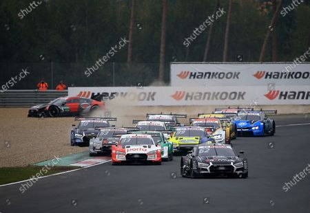 Stock Image of Ferdinand von Habsburg (AUT#62), WRT Team Audi Sport, Rene Rast (DEU#33), Audi Sport Team Rosberg, Nico MYller (CH#51), Audi Sport Team Abt Sportsline, Mike Rockenfeller (DEU#99), Audi Sport Team Phoenix, Jamie Green (GBR#53), Audi Sport Team Rosberg, Harrison Newey (GBR#10), WRT Team Audi Sport, Sheldon van der Linde (ZAF#31), BMW Team RBM, im Hintergrund fliegt Loic Duval (FRA#28), Audi Sport Team Phoenix ab